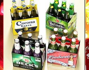 Beer Bottle 6 Packs Coasters Opener Set 3D