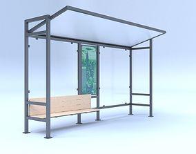 Bus station stop 3D model