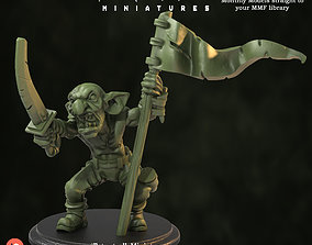 goblin 3D print model Goblin Flag Bearer Pre-Supported