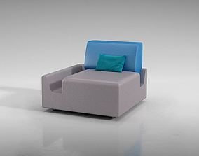 3D Modern Blue White Chair