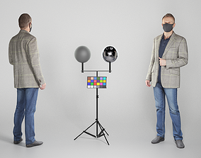 Man in casual clothes and protective mask 3D asset