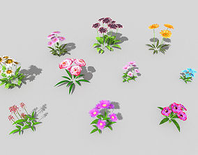 3D asset 10 low poly flowers pack 2