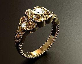 Gothic style Diamond Ring 3D printable model