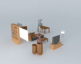 The contemporary living room and office 3D
