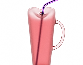 3D model Cocktail cup with a straw