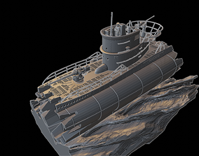 3D print model Submarine U Boot diorama