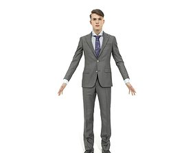 3D model Business man in a grey suit