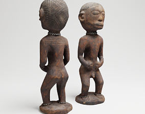 PBR Ancient African Male Wood Sculpture from Uganda 3d