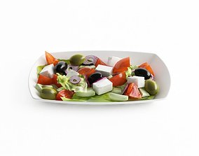 Greek Salad On A Plate 3D