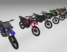 3D asset Pack Of 7 low poly game ready Dirt bikes