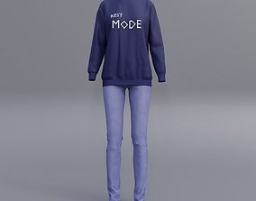 3D model female printed sweatshirts and blue jeans