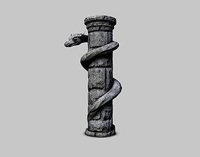 3D asset Serpent stone column