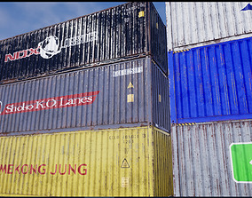 Shipping Containers with various skins 3D model