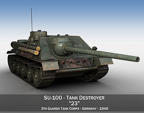 SU-100 - 23 - Soviet Tank Destroyer 3D model
