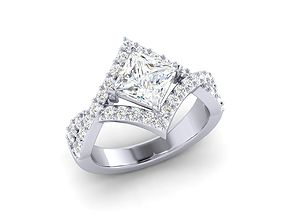 princess cut diamond engagement 3D print model