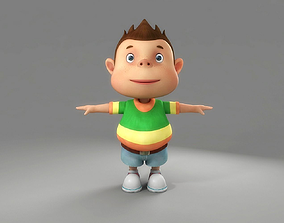 3D model baby Cartoon Boy Rigged