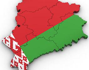 3d Political Map of Belarus