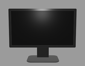 computer Low-poly Widescreen Monitor 3D model