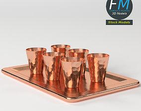Copper shot glasses on a tray 3D model