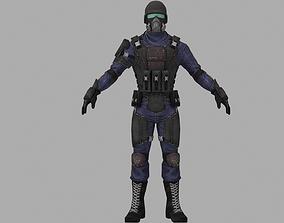 Soldier 3D model VR / AR ready head