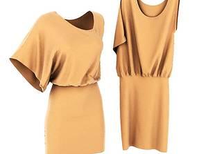 Light Taupe Ruffled Dress 3D model