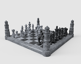 Chess set with towers 3D asset