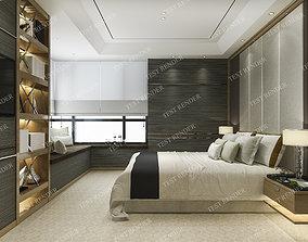 window luxury modern bedroom suite in hotel 3D