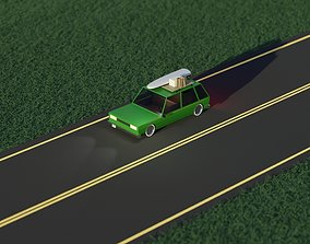 Low Poly Station Wagon Road Trip 3D asset