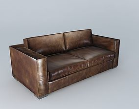 3D BERLIN aged brown leather sofa