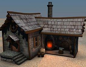 Low Poly Blacksmith Medieval Building 3D model