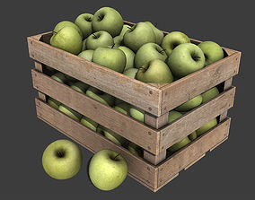 3D model Crate with Green Apples