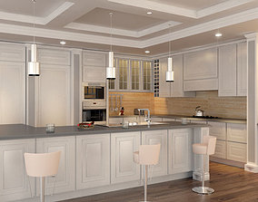 3D Classic Interior Kitchen set