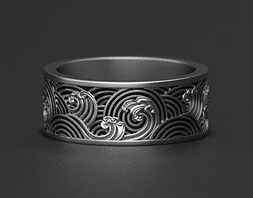 3D printable model Waves ocean wedding ring