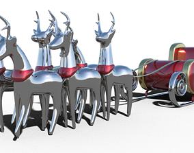 Santa Claus sleigh Reindeer 3D