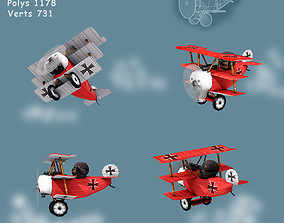 Low poly WW1 Red Baron 3D asset
