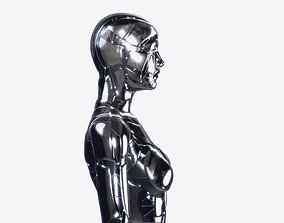 Rigged SILVER DROID Female 3D model