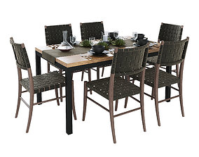 3D Crate and Barrel Dining Table set