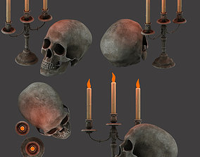 bone candles and skull 3D