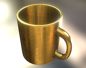 Coffee Cup Gold Version - Gameready - PBR 3D model