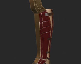 3D asset Gladiator Boot shiny Metal UV unwrapped diffuse 1