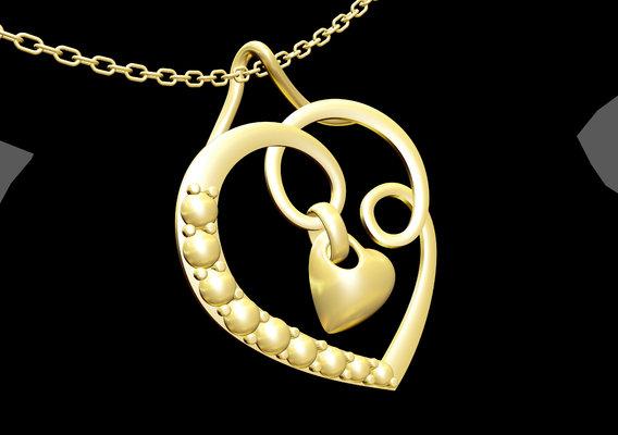 Heart Love Kiss Pendant jewelry Gold 3D print model