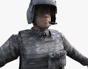 3D model Rigged Blackhawk pilot