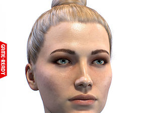 3D asset low-poly Average Caucasian Female Head