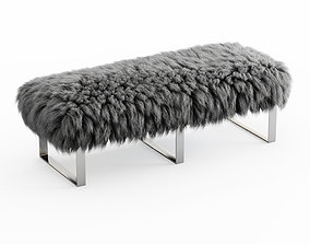 3D model Mongolian Fur Gray Bench