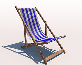 3D Deck Chair - Blue - Weathered