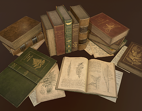 3D model low-poly Old Books set - PBR Game Ready