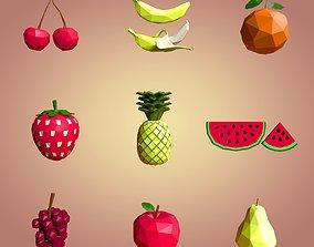 Low Poly Cartoon Fruits 3D asset