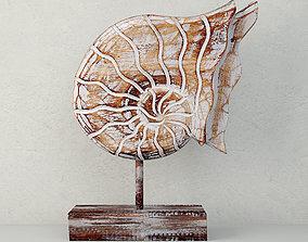 3D Balinese Wood Nautilus Shell Sculpture