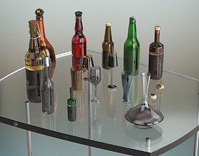 Beer Bottle Set 3D model