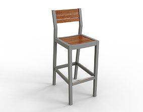 SJALLAND Bar stool with backrest outdoor light 3D asset 2